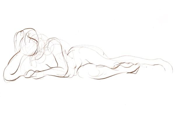 Reclining Female Figure Line Drawing