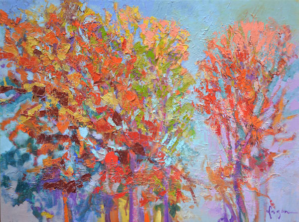 Red Autumn Trees Oil Painting, Original Art by Dorothy Fagan