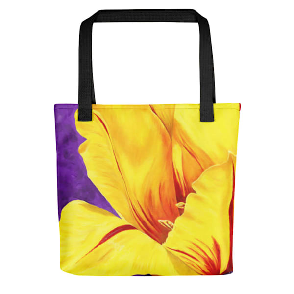 "Stylish, colorful tote bags with original artwork of ""Luminous"" by Mary Anne Hjelmfelt printed on them."