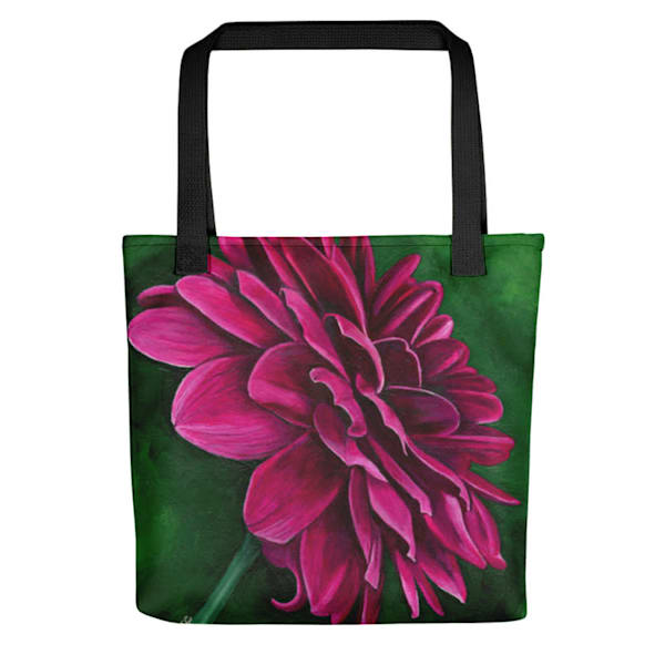 Artsy, colorful tote bag with original artwork of Delightful Dahlia by Mary Anne Hjelmfelt printed on it.