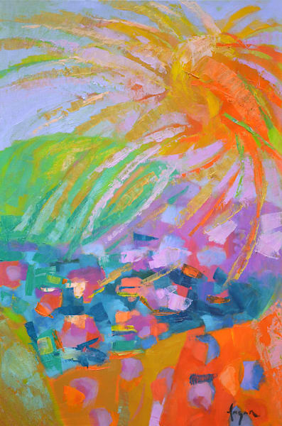 Colorful Modern Art Oil Painting, Original by Dorothy Fagan