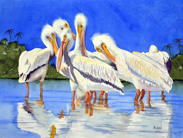 A painting of a family of white pelicans at Ding Darling Wildlife Preserve by Shah Hadjebi