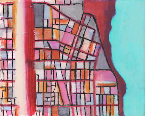 Evanston Print – Abstract Street Map of Evanston IL by Carland Cartography