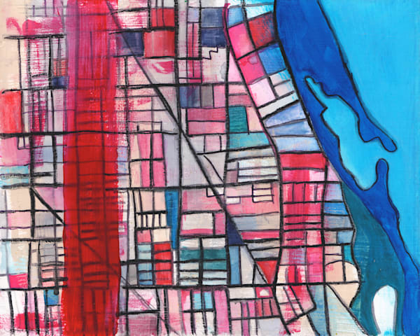 Abstract Map Print by Carland Cartography – Abstract Street Map of Chicago Neighborhood - Lakeview | Boystown | Ravenswood