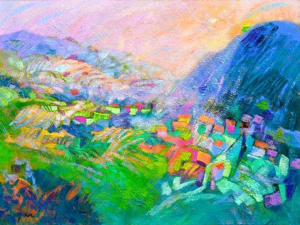 Tuscany Mountain Landscape Painting, Limited Edition Print by Dorothy Fagan