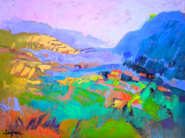 Colorful Abstract Mountain Landscape Fine Art Print, Painting by Dorothy Fagan