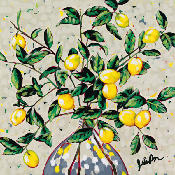 Print of an original painting of lemon branches by Jodi Augustine.