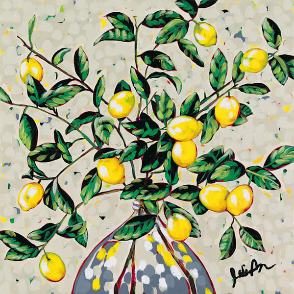 Original acrylic painting of lemon branches in a vase.
