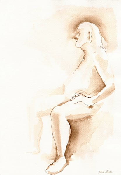 """Ancient"" Original Figure Drawing Seated Male 7x10 Art 