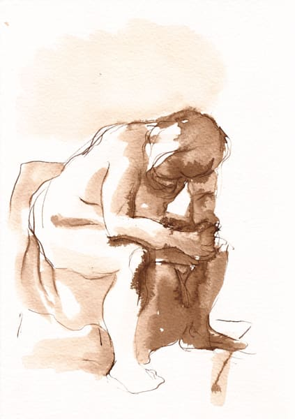 "Pen And Ink Seated Male Figure Drawing 10"" X 7""  ""Dark"" Art 
