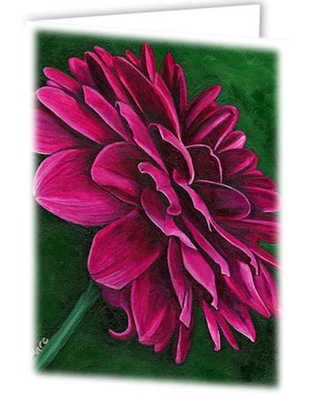 Uniquely made greeting cards in an 8 pack set printed with original artwork of Delightful Dahlia by Mary Anne Hjelmfelt