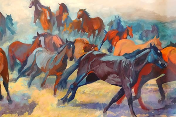 Red. Blue Horses