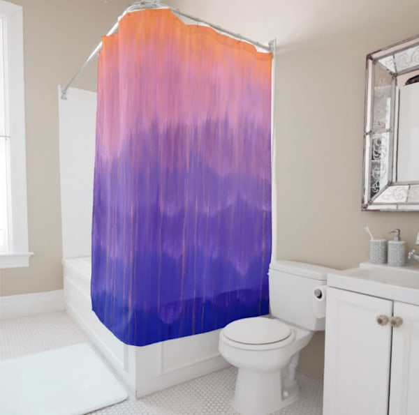 Shower Curtain Purple Pink  Misty Morning Mountain Rain by Rachel Brask