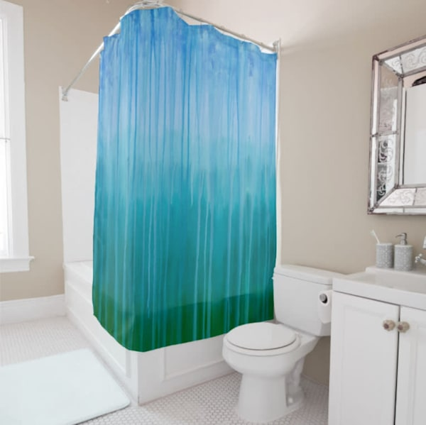 Shower Curtain Forested Mountains In Rain By Rachel Brask Blue Green | Rachel Brask Studio, LLC