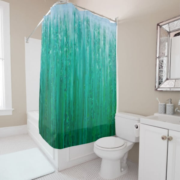 Shower Curtain Deep Forest in Rain by Rachel Brask Pine Green