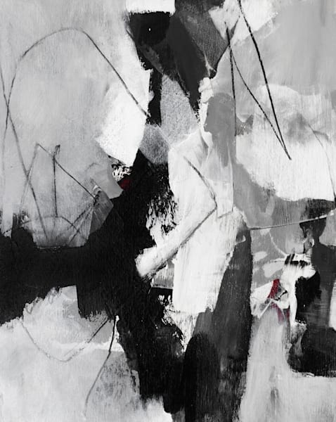 Black and White abstract painting by Canadian artist Marianne Morris.