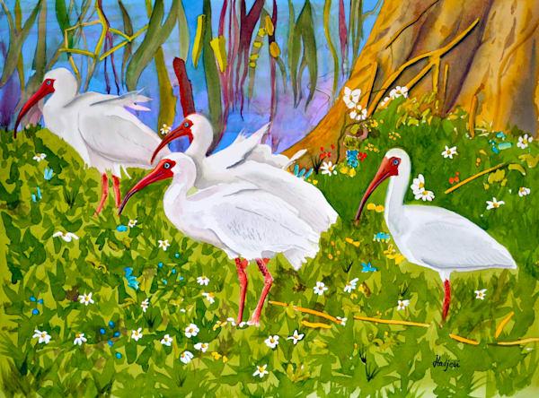 A painting of a Flock of Ibis by Sanibel Artist Shah Hadjebi