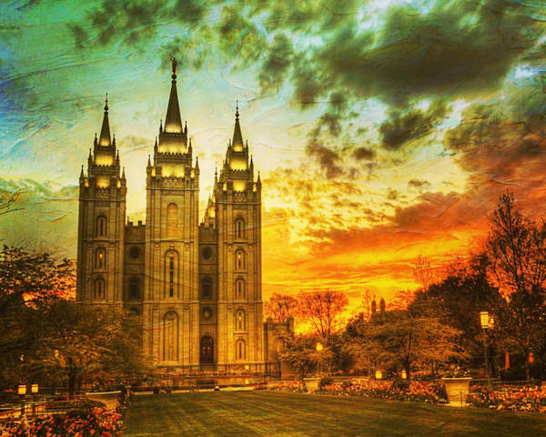 Salt Lake Temple Sunset artistic