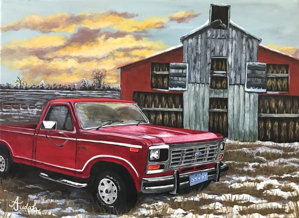 Tobacco Barn And A Ford Truck Art | alanajudahart