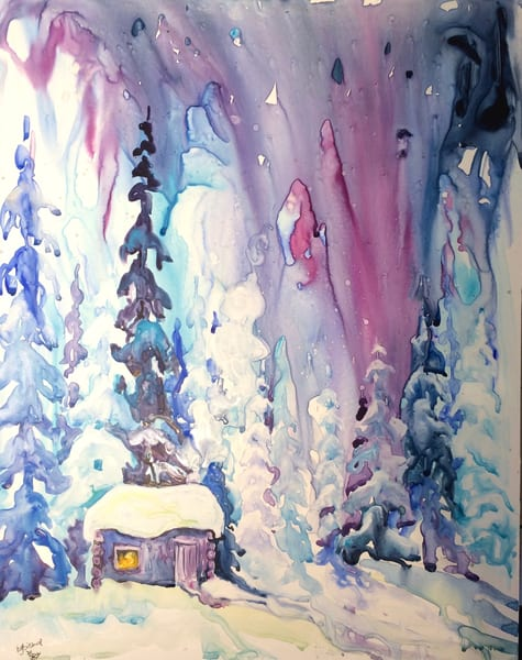 Christmas Cabin Card | Karen Bishop Artist