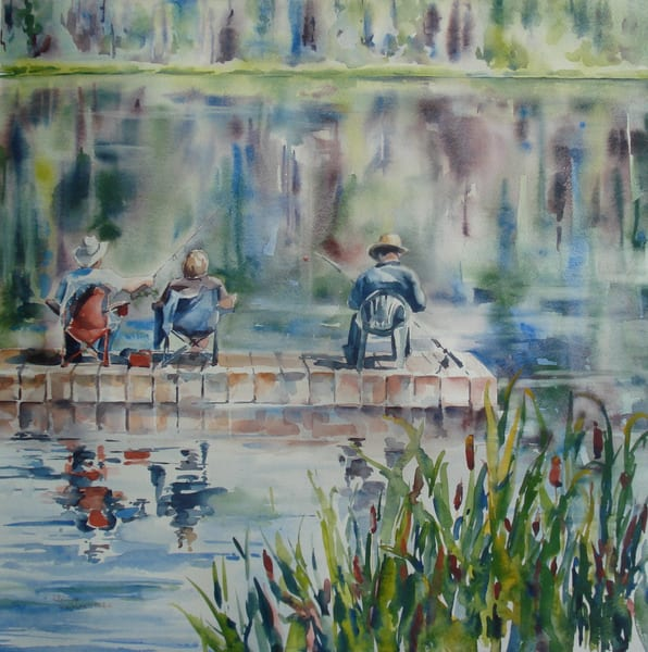 Fishing At Schuman Lake Card | Karen Bishop Artist