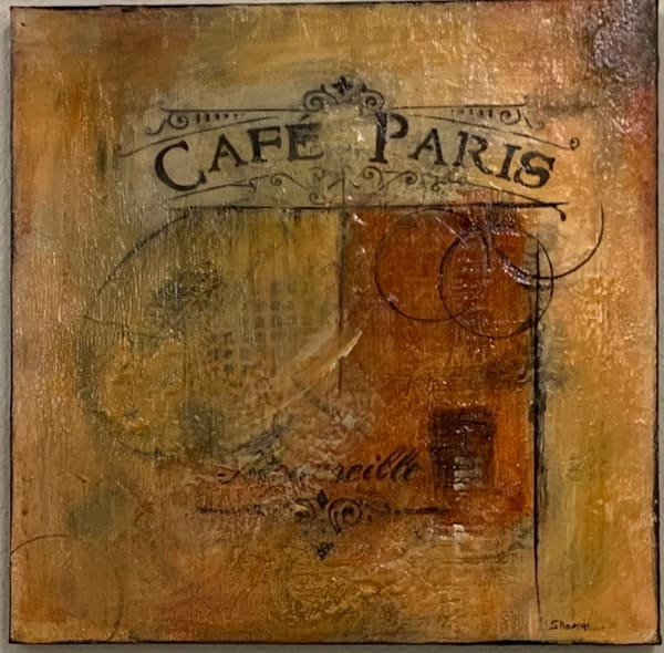 Earth tones, texture, French Cafe stencil, marks, color drips, layers of colors, art, fine art
