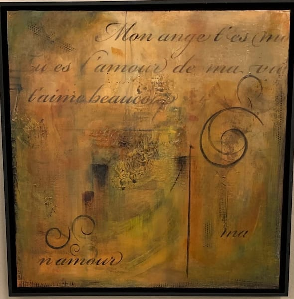 Acrylic, gesso, earth tones, French writing, texture, art, fine art