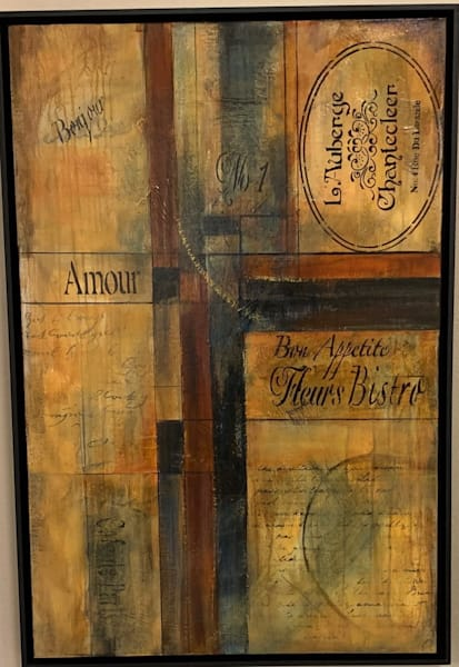Earth tones, stencils, gesso, French writing, textures, art, fine art