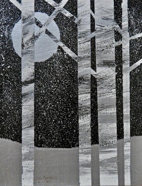 Silver Snow, original painting, abstracted landscape painting, winter painting, john mangels, john mangels art