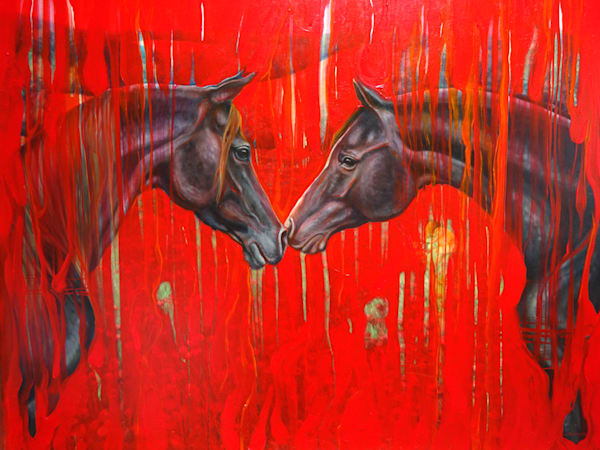 prints on canvas or paper of black horse on red