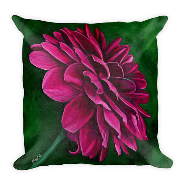 "Colorful, soft pillow printed with original artwork of ""Delightful Dahlia"" by Mary Anne Hjelmfelt printed on it."