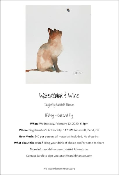 Watercolor & Wine - Paint Night Cat & Fly
