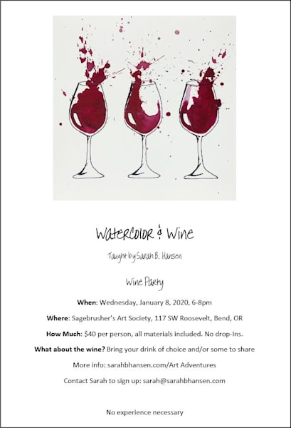 Watercolor & Wine, Wine Party Paint Night