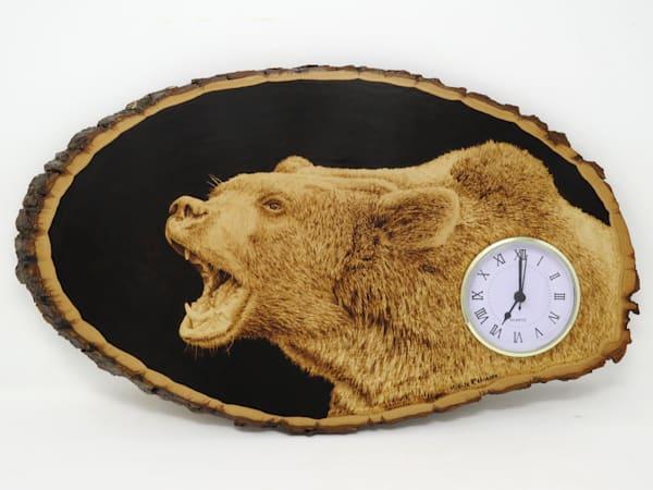 Grizzly Clock (Original Woodburning)