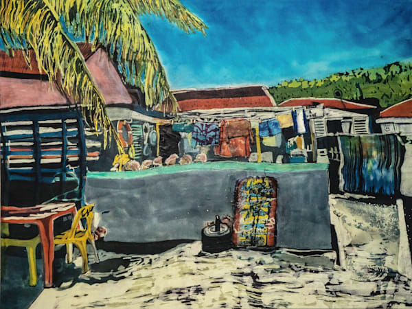 """Wash Day! Isles des Saintes""  by artist Muffy Clark Gill is a batik painting on silk measuring 30 x 40 in"