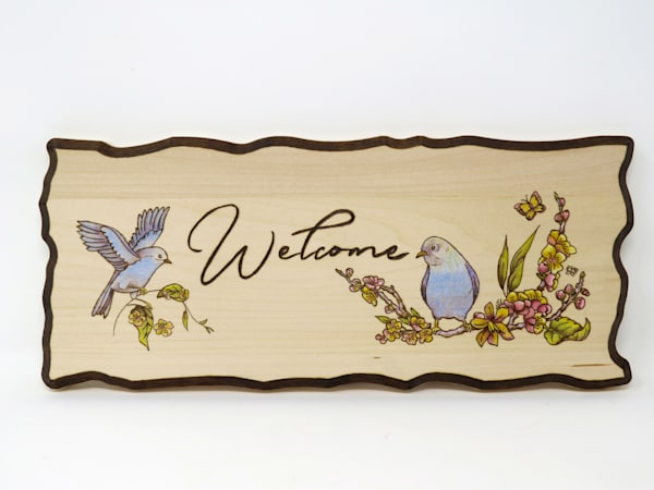 Welcome Sign (Original Woodburning)