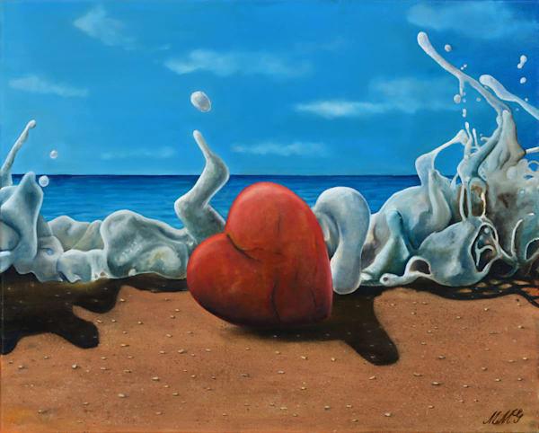 Heart On The Beach | Original Oil Painting Art | MMG Art Studio | Fine Art Colorado Gallery