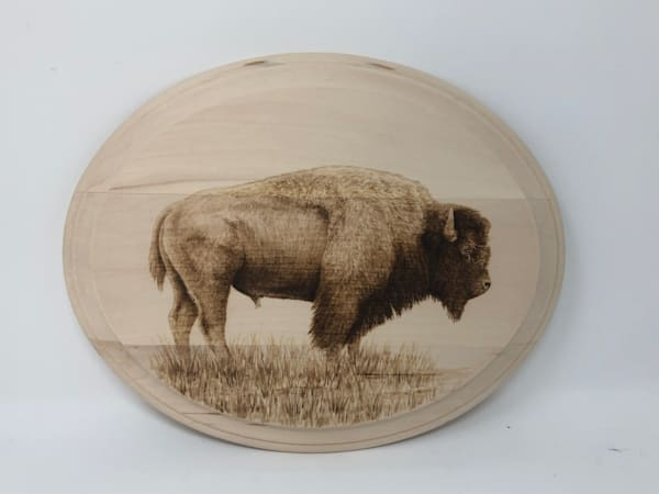 Bison on Oval (Original Woodburning)