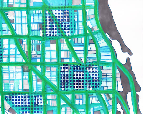 Lakeview Chicago Artwork - Abstract Map Print by Carland Cartography – Abstract Street Map - Lakeview | Boystown | Ravenswood