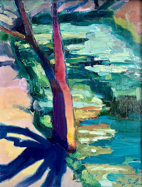 """Plein air oil painting made in Italy of the lovely lake at Villa di Bordone. This painitng is 14""""x11"""" oil on panel."""