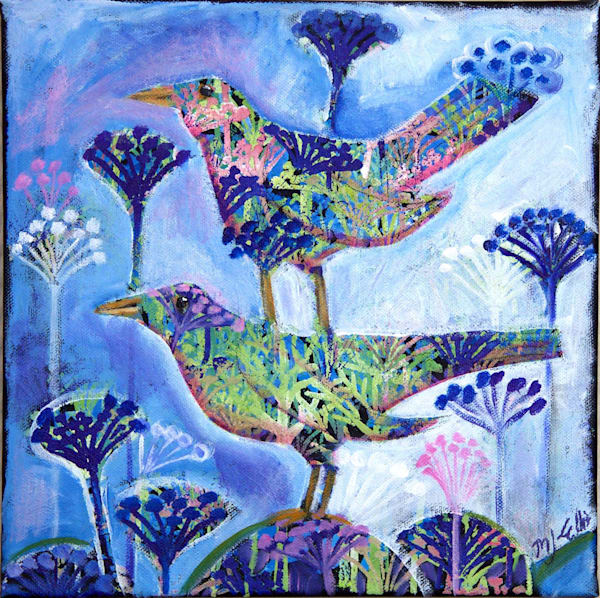 SOLD - Birds in Bloom - acrylic painting on ready to hang canvas