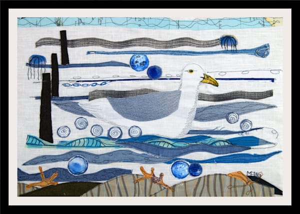 Stormy Waters - collage on textile