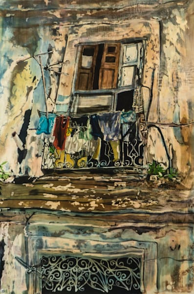 """Wash Day: Havana""   by artist Muffy Clark Gill  is a rozome (batik) painting on silk measuring 38 x 26 in"