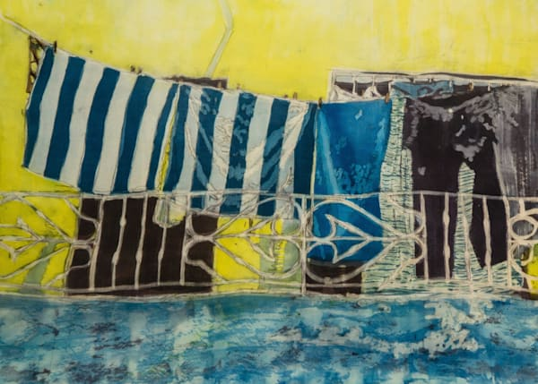"""Wash Day: Cienfuegos""  by artist Muffy Clark Gill  is a rozome (batik) painting on silk measuring 18 x 24 in."