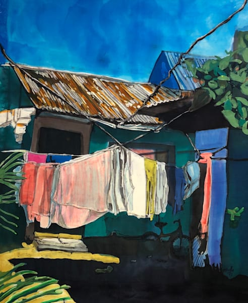 """Wash Day: Tortuguerro""  by artist Muffy Clark Gill_"" is a rozome (batik) painting on silk measuring 18 x 24 in."