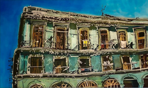 """Wash Day: Havana Balconies""- by artist Muffy Clark Gill is a rozome (batik) painting on silk_ measuring 24 x 36 in."