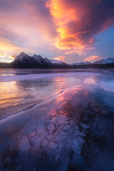 Ice Bubbles on Fire   Abraham Lake, Alberta, CA   Douglas Sandquist Photography