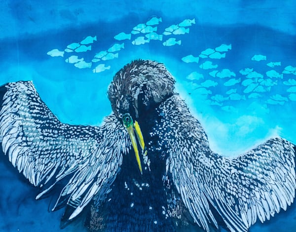 """Snakebird"" by artist Muffy Clark Gill is a rozome(batik) painting on silk. It measures 43 x32.5 in"