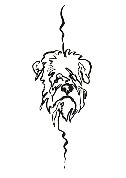 Wheaten Single Line Drawing Print