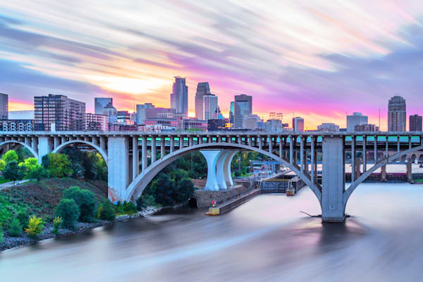Colorful Minneapolis Sunset - Twin Cities Skyline | William Drew Photography